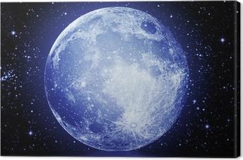 Canvastavla Fullmånen på natthimlen speglas i vattnet