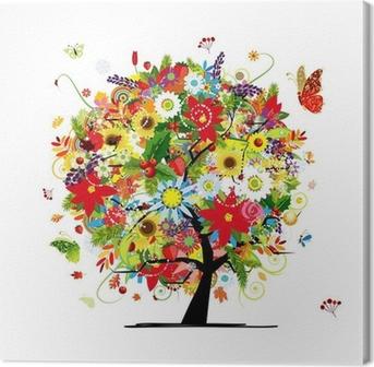 Canvastavla Fyra säsonger koncept. Konst träd för din design