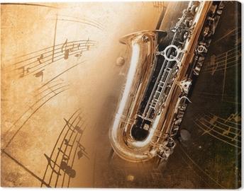 Canvastavla Gamla saxofon med smutsiga bakgrund