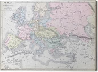 Karta Europa 1815.Canvastavla Gammal Karta Av Europa 1815 1866 Publicerad I 1883