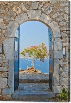 Canvastavla Gate i Palamidi fästning, Nafplio, Grekland