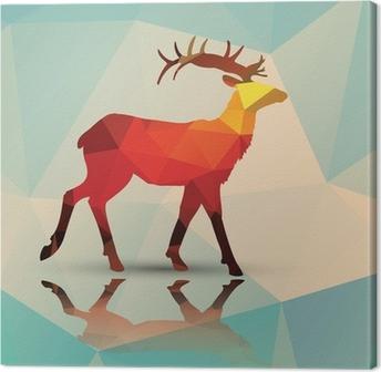 Canvastavla Geometriska polygonala hjortar, mönsterdesign, vektor