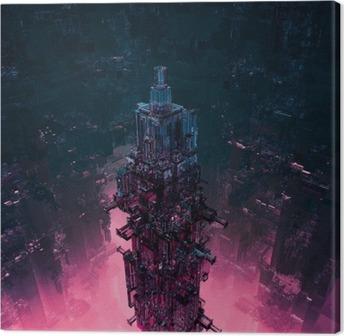 Canvastavla Glas technocore stad / 3d framför futuristic science fiction struktur