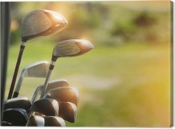 Canvastavla Golfklubbor förare över gröna fältet bakgrund d5702432bcd47