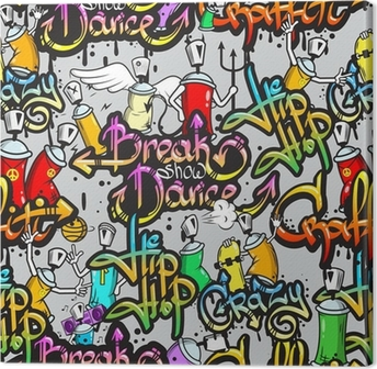 Canvastavla Graffiti tecken seamless