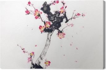 Canvastavla Gren av körsbär blommar