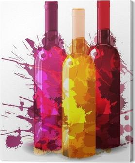 Canvastavla Grupp av vinflaskor vith grunge stänk. Rött, rosa och vitt.