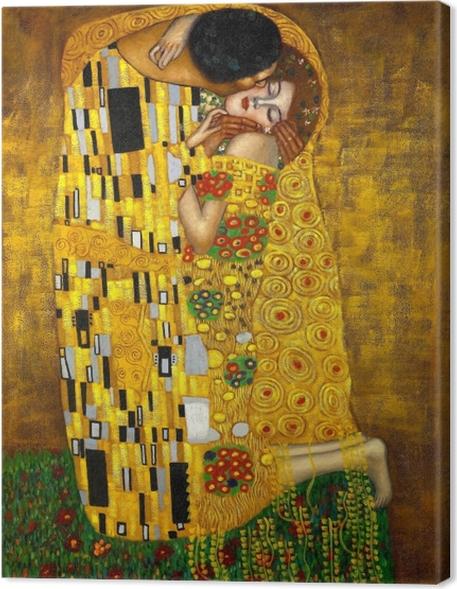 Canvastavla Gustav Klimt - Kyssen - Reproduktioner