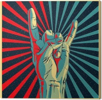 Canvastavla Hand i rock n roll underteckna, vektor Eps10 illustration.