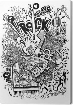 Canvastavla Hand ritning klotter, collage med musikinstrument