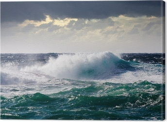 Canvastavla Havet våg under storm