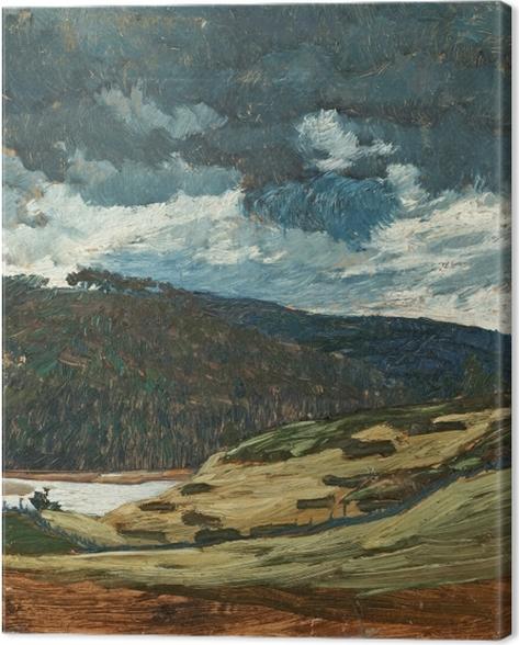 Canvastavla Helmer Osslund - Zomerse dag aan de rivier Ljungan - Reproductions