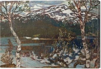 Canvastavla Helmer Osslund - Zomerse dag aan het meer Rensjön vlakbij Åre