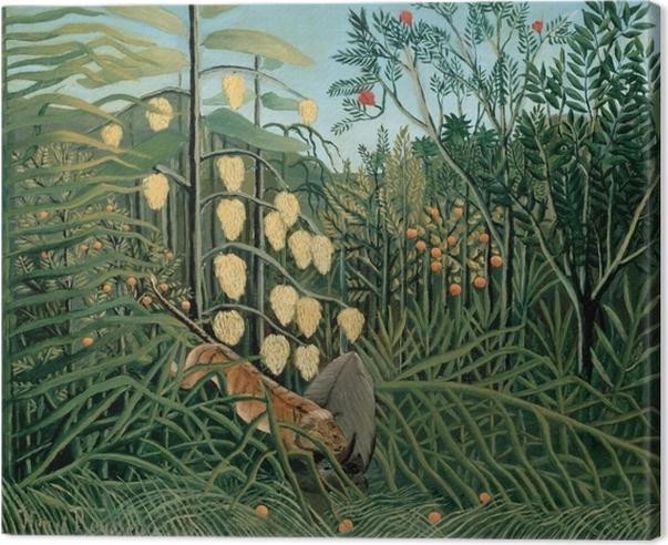 Canvastavla Henri Rousseau - Slagsmål mellan en tiger och en buffel - Reproduktioner