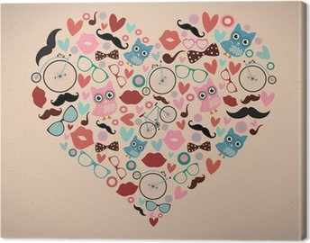 Canvastavla Hipster Doodles ligger i hjärta form