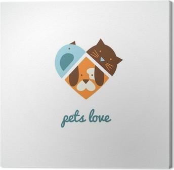 Canvastavla Husdjur vektor ikoner - katter och hundar