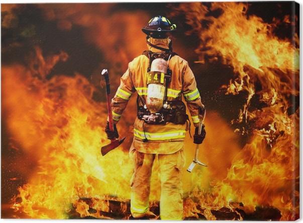Canvastavla I till branden, söker en brandman för eventuella överlevande - Tävling