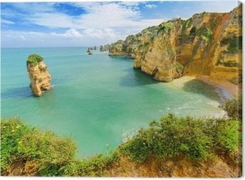 Canvastavla Idyllisk strandlandskapet på Lagos, Algarve, (Portugal)