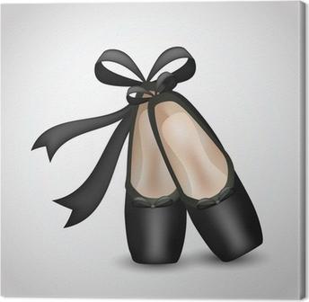Canvastavla Illustration av realistiska svart balett pointes skor