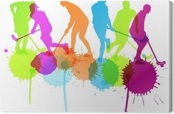 Canvastavla Innebandy spelare vektor silhuett bakgrund begrepp med bläck s