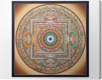 Canvastavla Inre delen av forntida tangka Ohm Mandala på vitt