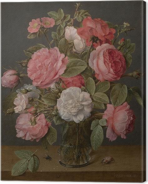Canvastavla Jacob van Hulsdonck - Roses in a Glass Vase - Reproduktioner