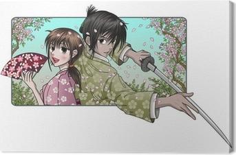 Canvastavla Japansk dam och stolt samurai - sakura bakgrund