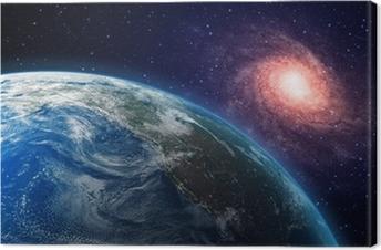 Canvastavla Jord och en spiralgalax i bakgrunden