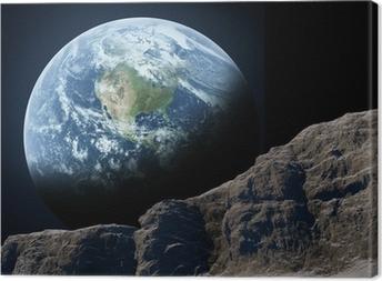 Canvastavla Jorden sedd från månen.