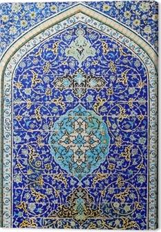 Canvastavla Kaklad bakgrund, orientaliska ornament från Isfahan moskén, Iran
