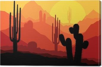 Canvastavla Kaktus växter i Mexico öknen solnedgång vektor