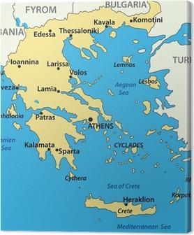 Karta Europa Grekland.Canvastavla Kontur Karta Over Grekland Med Regioner Pixers Vi