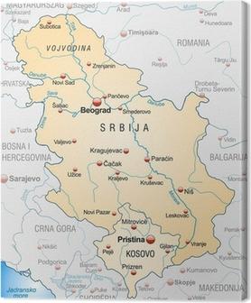 Canvastavla Karta över Serbien med grannländer som en översikt