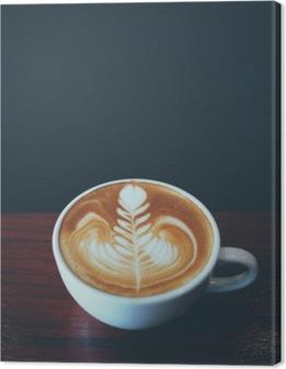 Canvastavla Kopp kaffe latte art i kafé