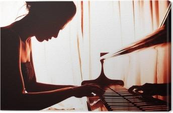 Canvastavla Kvinna som spelar piano