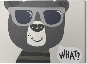 Canvastavla Kyla tecknad björn med solglasögon