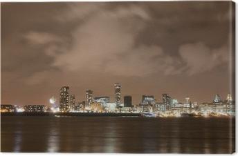 Canvastavla Liverpool Fyrverkeri panorama på nyårsafton
