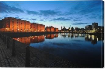Canvastavla Liverpool silhuett på natten