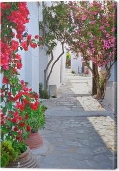Canvastavla Lugn bakgata i liten traditionell grekisk by