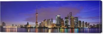 Canvastavla Lujiazui Finance & Trade Zone i Shanghai landmärke skyline i gryningen