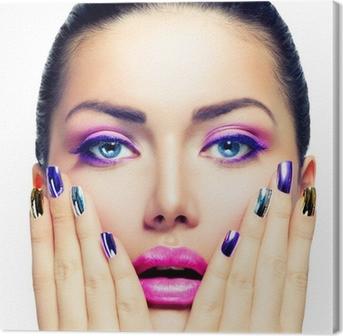 Canvastavla Makeup. Purple Make-up och färgglada Bright Nails