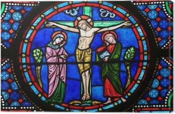 Canvastavla Målat glass - Jesus på korset
