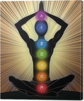 Canvastavla Man silhuett i yoga position