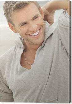 Canvastavla Manlig modell leende