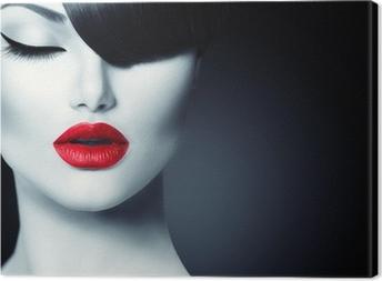 Canvastavla Mode Glamour Beauty Girl med trendiga Fringe Frisyr