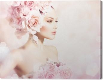 Canvastavla Mode skönhet modell flicka med blommor hår. Bride