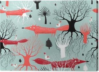 Canvastavla Mönster träd och rävar