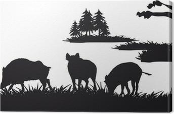 Canvastavla Motive jakt på djur och landskap