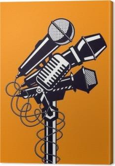 Canvastavla Musik affisch med mikrofoner.