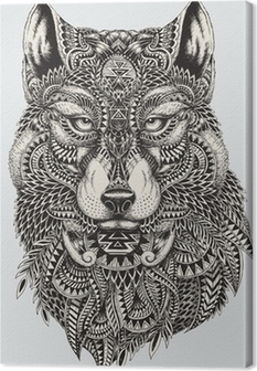 Canvastavla Mycket detaljerade abstrakt wolf illustration